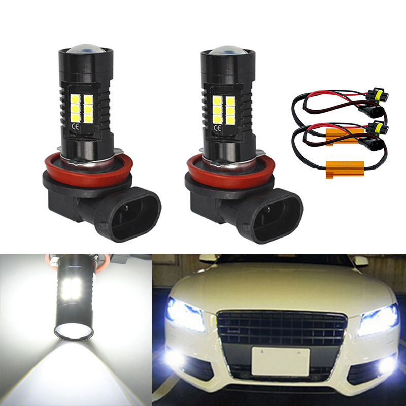 DOTAATDW 2x Super White <font><b>H8</b></font> H11 <font><b>CREE</b></font> Chip 3030 <font><b>LED</b></font> Fog Light Driving Bulbs No Error For Audi A3 A4 A5 S5 A6 Q5 Q7 TT image