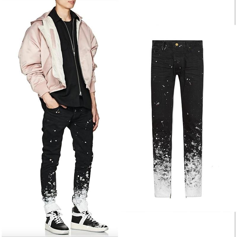 Rambling Men's Creative Splashing Ink Printed Fog Jeans, Novelty Slim Fit Stretch Biker Jeans Pants High Street Trousers