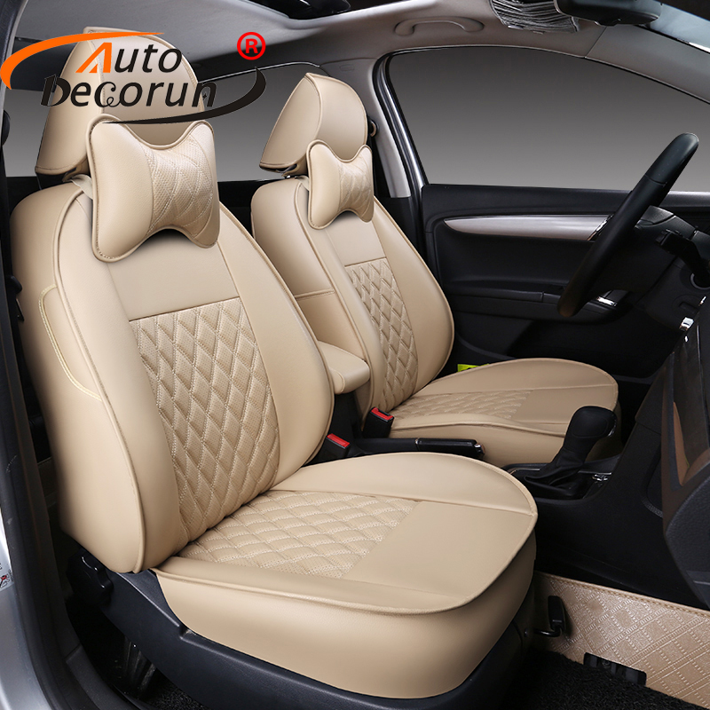 AutoDecorun Custom Fit PU leather Seat Covers set for Volvo XC60 2015 Automobile Seat Covers Cars Seats Cushion Supports Styling