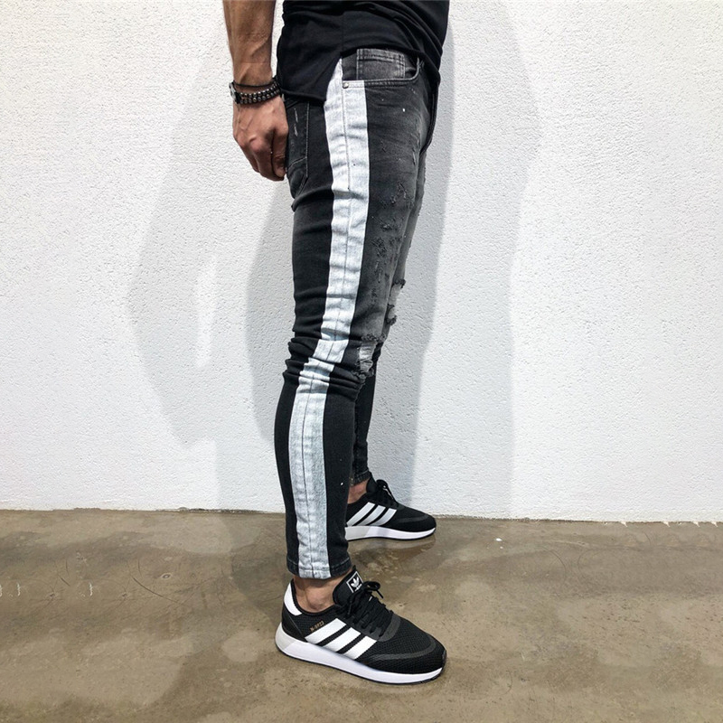 Ripped Jeans For Men 2019 Fashion Hole Youth With White Side Elastic Feet Denim Skinny Jeans Men Summer New