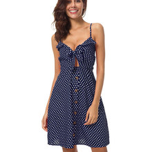 купить Sexy Polka Dot Print Midi Dress Women 2019 Summer Sleeveless Knot Tied Button Front Open Back Dress Red Blue Boho Beach Sundress по цене 897.2 рублей