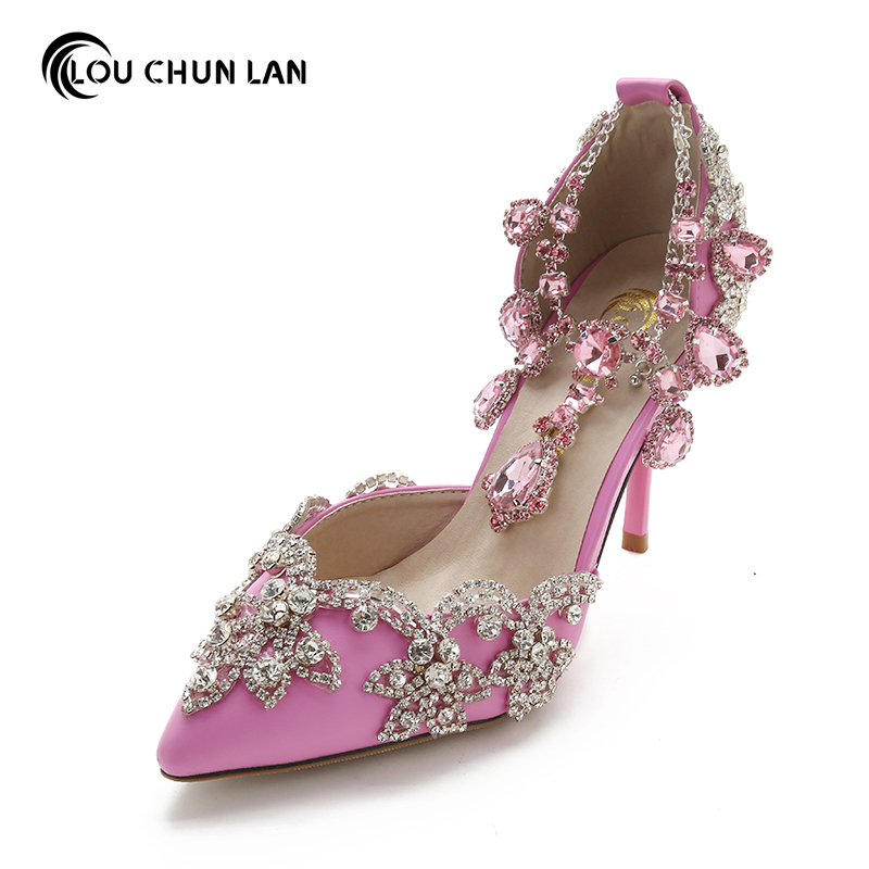 Pointed toe Rhinestone ultra High Heels Wedding Shoes banquet Formal Dress Shoes Crystal tassel bracelet female Sandals 9cm Heel 2016 white pearl 4 inches stiletto heel bridal dress shoes formal dress high heels pointed toe wedding banquet party prom shoes