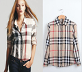 New Arrival womens' Classic Basic Plaid Blouse elegant slim casual cozy shirts long sleeve brand quality topsF4274