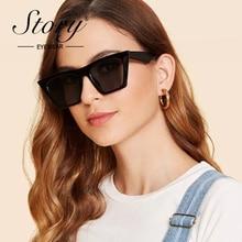 STORY Small Square Sunglasses Women 2019 Luxury Brand Designer PC Frame Gradient