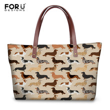 цена на FORUDESIGNS Women Tote Bags Animal Dachshund Dog Pattern Large Handbags for Female Luxury Shopping Bag Youth Girls Casual Bolsa