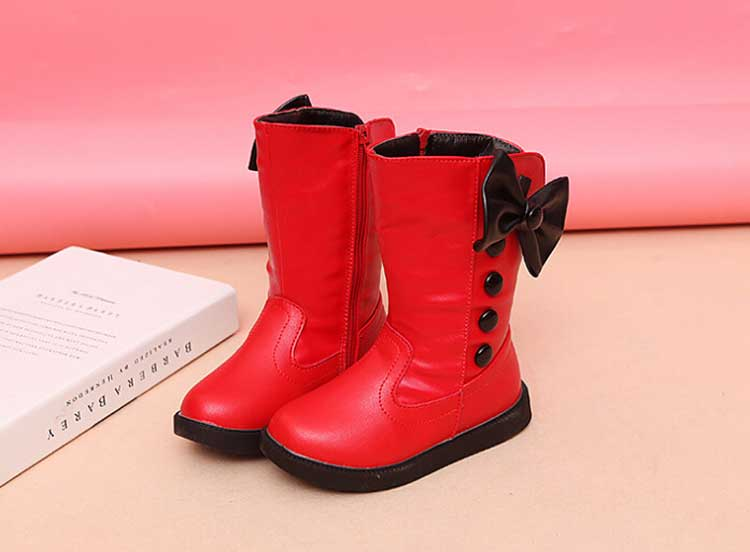 Hiver imperméable filles bottes Ski tissu chaud neige bottes enfants filles enfants arc chaussures filles en cuir coton bottes #20 - 4