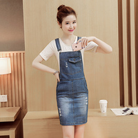 2017 New Summer Casual Women dress Spaghetti Strap Hole In Denim Straps Less Junior Middle School Students Dresses Jeans And 821