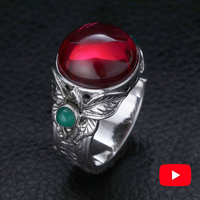 NOT FAKE Ring 925 Sterling silver Ring handmade Thai silver S925 fine Art Garnet Jasper Tibetan Ruby huge ring flower Agate