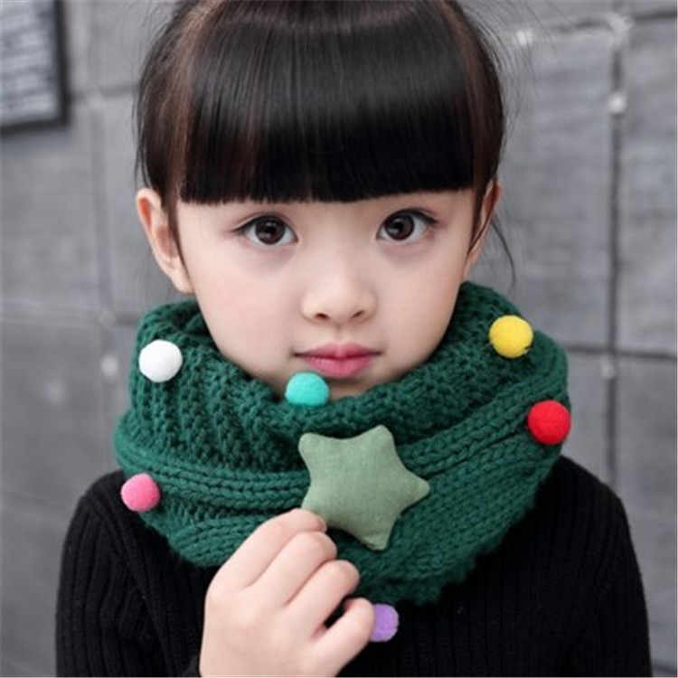 2017 Kawaii Star Children's Snore Knitted Scarf For Girls Sweater LICs Unisex Winter Knitting Snud For A Boy Warm Scarves Collar