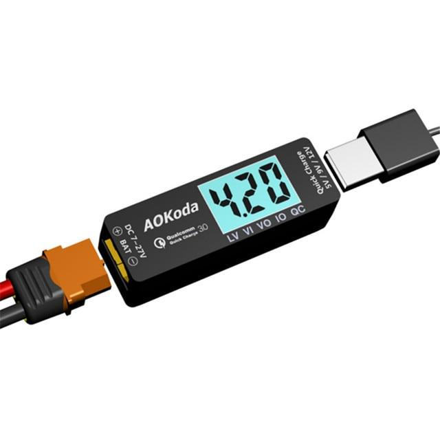 AOKoda Lipo sang USB Bộ Chuyển Đổi Nguồn Điện QC3.0 Adapter Củ Sạc Nhanh dành cho Điện Thoại Thông Minh Máy Tính Bảng Pin Lipo Testor Chỉ Báo RC Mô Hình