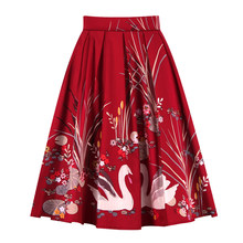 Wipalo Summer Autumn Floral Swan Print Women Skirts Girls Red Cotton High Waist Ball Gown Vintage 50s Pleated Midi Skirt(China)