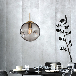 Image 5 - מודרני לופט זכוכית כדור תליון אור LED E27 נורדי תליית מנורה עם 2 צבעים לסלון מסעדה לובי חדרי שינה מטבח