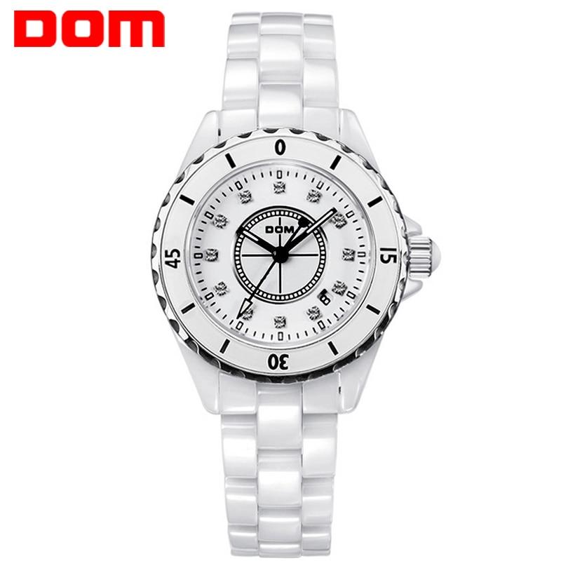 DOM 2017 Watches Women White Ceramic Quartz Watches Fashion Top Brand Luxury Casual Waterproof Watch Feminino Relogio T-598-7M dom women luxury brand watches waterproof style quartz ceramic nurse watch reloj hombre marca de lujo t 558