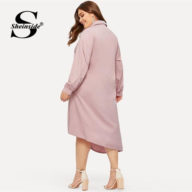 Sheinside Plus Size Pink Casual Ruffle Detail Shirt Dress Women 2019 Spring Asymmetrical Hem Midi Dresses Ladies Straight Dress 1