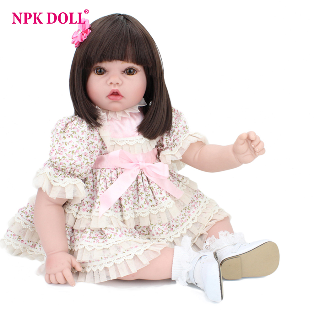 50cm Cute Doll Reborn Realistic American Girl Doll Brown Eyes Silicone Vinyl Reborn Dolls W Clothes Shoes Children Birthday Gift