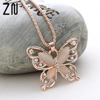 2017 Fashion Women Lady Rose Gold Natural Stone Butterfly Pendant Necklace Sweater Chain