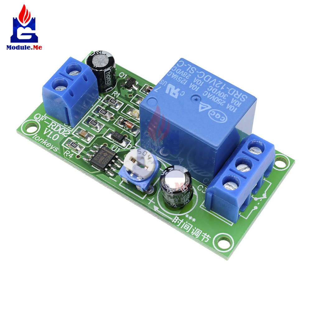 US $0 84 11% OFF|DC 12V 1 Channel Conduction NE555 Delay Timer Relay Switch  1 Minute Adjustable Time Delay Relay Module Shield AC 250V 10A DC 30V-in