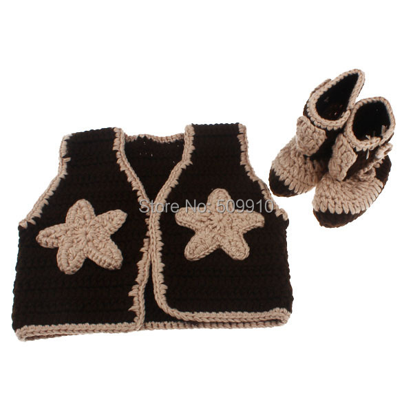 2015 New Baby Clothing Cowboy Boots And Vest Set Crochet Pattern