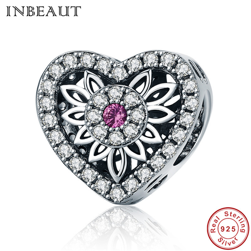 INBEAUT 925 Sterling Silver Round Pink Centred Zircon Arrow White Cubic Zirconia Heart Shaped Beads fit Pandora Charm Bracelet
