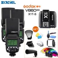 Freies DHL 3x Godox V860II-S GN60 E-TTL HSS 1/8000 Li-Ion batterie Speedlite Blitz + X1TS Sender für Sony A7R A7RII A58 A6000