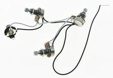 KAISH бас Предварительно Проводная жгут проводов Alpha 250K 16 мм Pots 2V1T 1 разъем для JB Jazz Bass