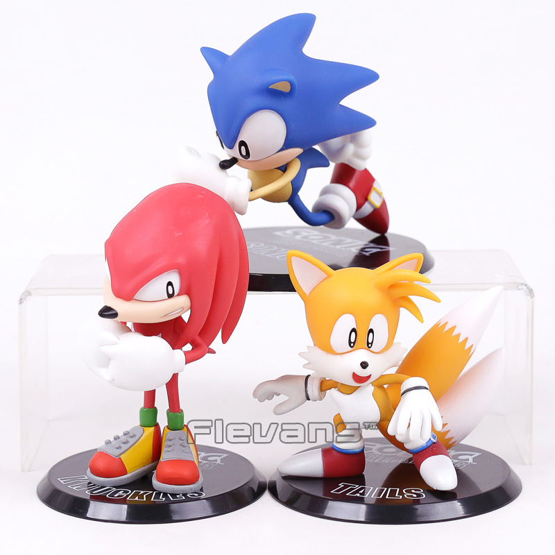 Sonic The Hedgehog Knuckles the Echidna Tails PVC Figure Collectible Model Toy 10~13cm original box sonic the hedgehog vivid nendoroid series pvc action figure collection pvc model children kids toys free shipping