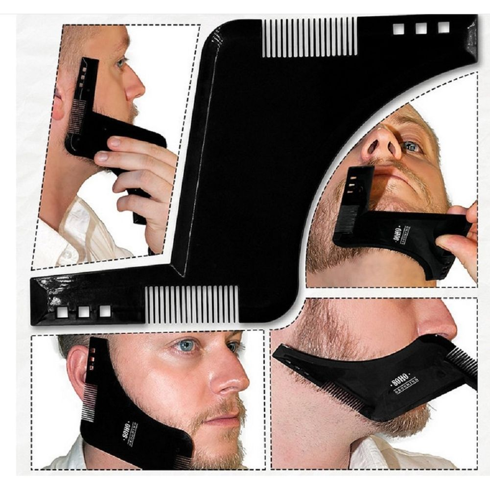 Double-side Beard Shaping Styling Template Beard Comb Men Shaving Tools ABS Comb for Hair Beard Trim Template Combs