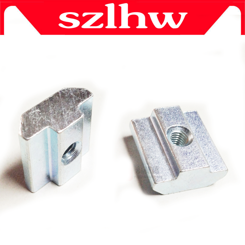 NEW 50pcslot M5 T Sliding Nut Zin-Plated Carbon Steel T Sliding Nut for 2020 Aluminum Profile Zin-plated Surface Nuts Hardware