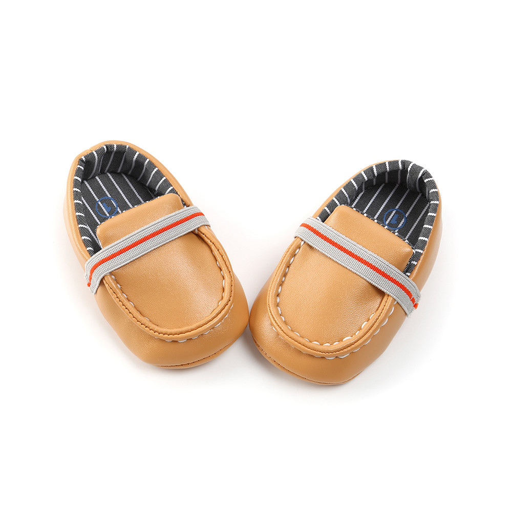2018 New Style Leather Infant Baby Boy Girl Shoes Fashion Striped Elastic Band Shallow Toddlers Prewalkers Crib Shoes Wholesale