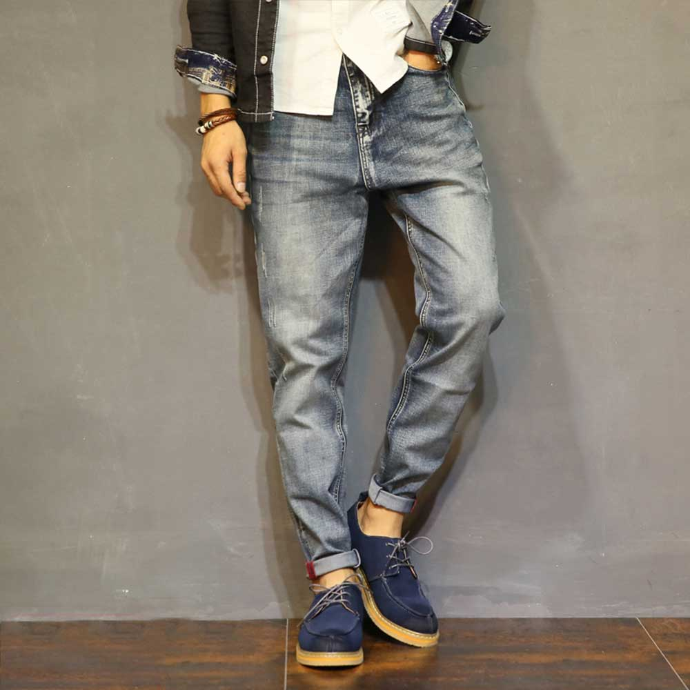 Fashion Distressed Mens Jeans Denim Harem Pants Ankle-Length Retro Punk Hip Hop Tapered Jean Cool Youth Designer Homme Trousers