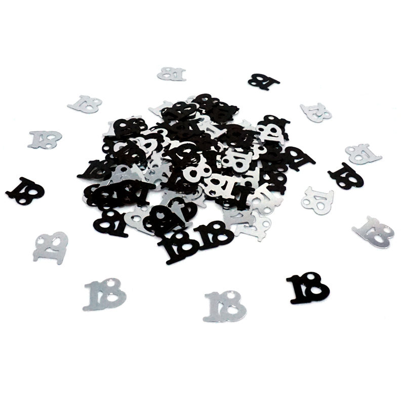 1500pcs Age Number Digital Black Sliver 13 16 18 20 21 30 <font><b>40</b></font> <font><b>50</b></font> <font><b>60</b></font> 70 80 Sprinkle Confetti Birthday Party Table Scatter Decor image