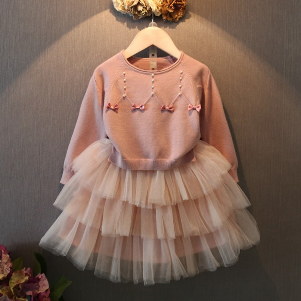 Autumn Children's Kids Girls Bow Long Sleeve Sweater Knitted Tops+Tutu Princess Tank Dress 2pcs  Vestidos Clothing Set S3550 girls dress winter 2016 new children clothing girls long sleeved dress 2 piece knitted dress kids tutu dress for girls costumes
