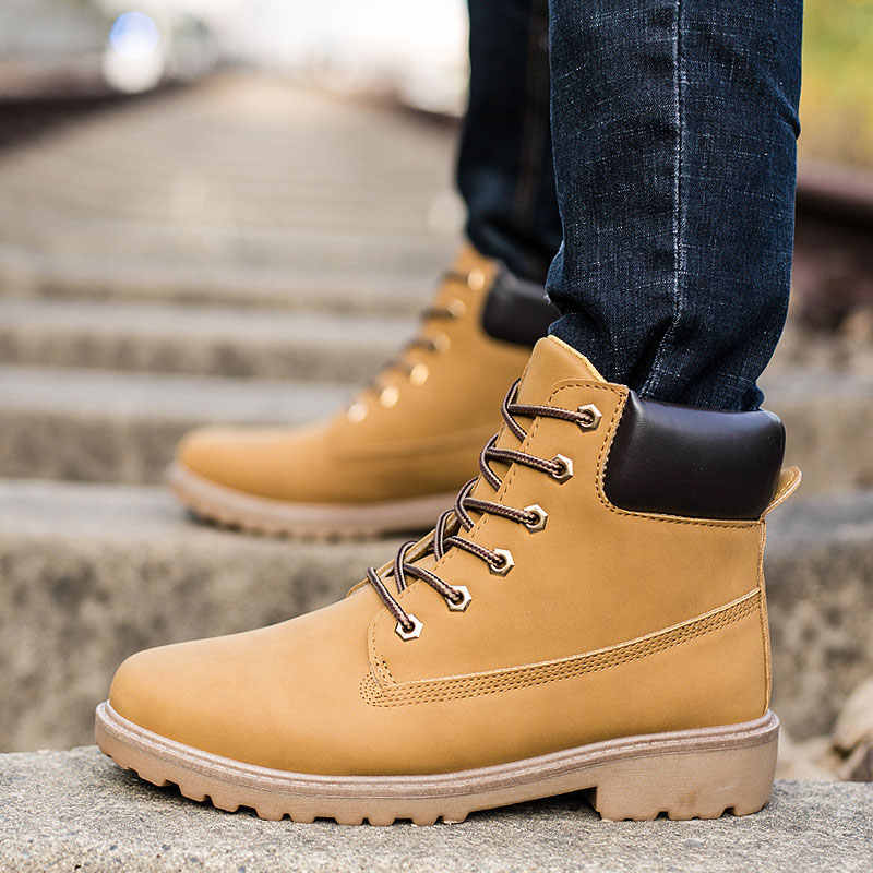 9e9c0cef518e ... 2018 Для мужчин кожаные сапоги Зимняя надежная обувь Для мужчин  Лесоматериалы туфли без каблука Сапоги для ...