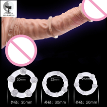BED KUNGFU Cock Rings Male Silicone Transparent Adult Sex Toys For Man Delay Penis Ring 3pcs