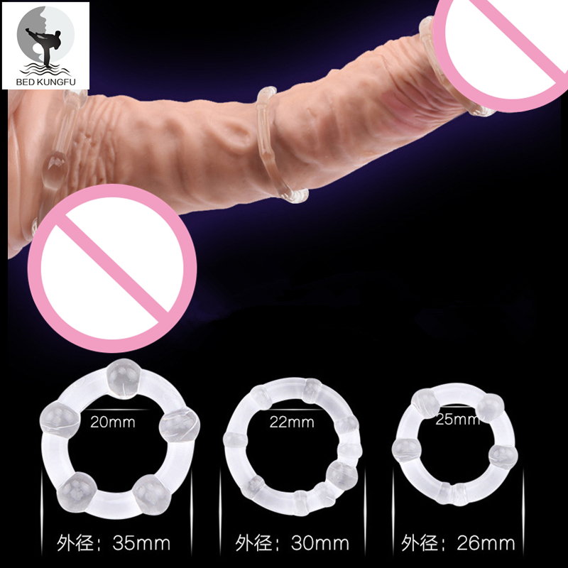 BED KUNGFU Cock Rings Male Silicone Transparent Adult font b Sex b font font b Toys