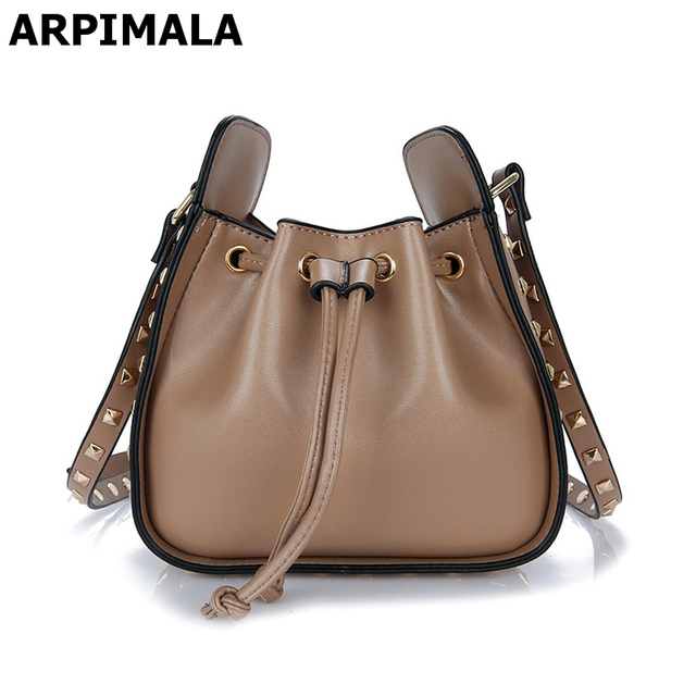 a401f02ecd09 ARPIMALA 2017 Leather Bags Women Designer Handbags High Quality Women  Studded Bucket Bags Small Famous Brand Ladies Hand Bags