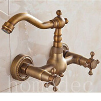 High Quality Gold Bathroom Faucets Antique Kitchen Faucets Water Mixer Brass Double Handles Mixer Tap Faucet For Sink