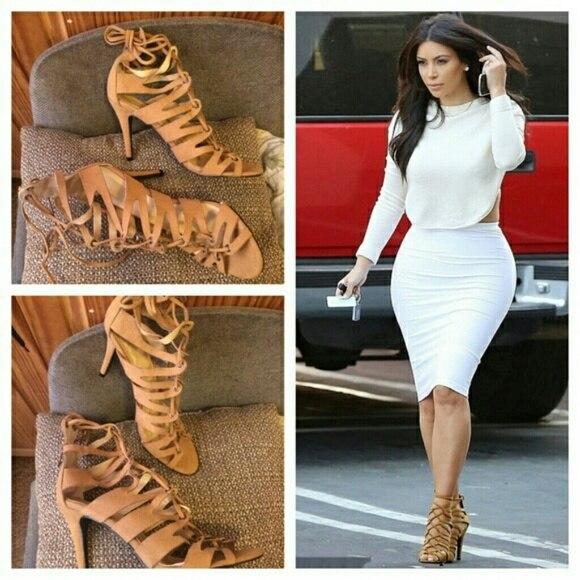 Aliexpress.com Comprar Kim kardashian zapatos inspirado tacones Peep Toe tacones altos recortes mujeres sandalias botas de verano con cordones gladiador