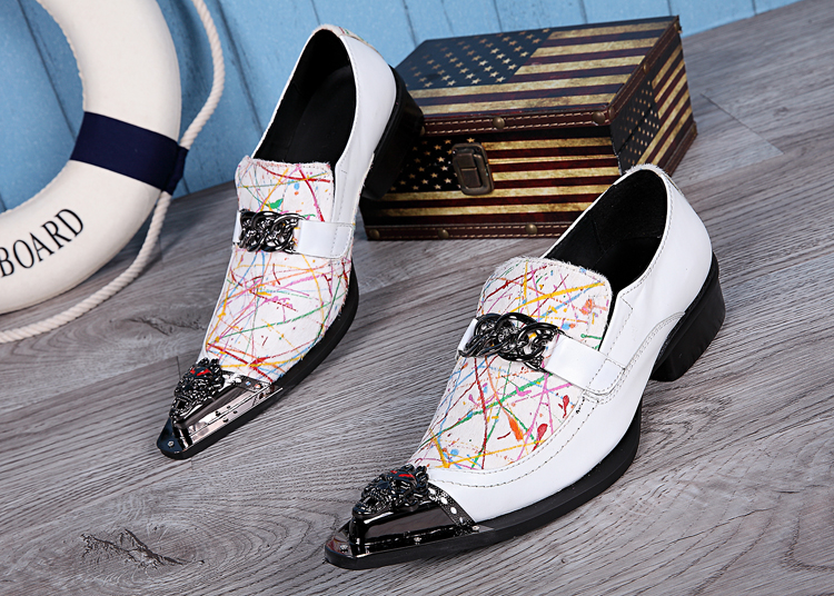 ew Elevator Men Brogues Metal Pointed Toe Men Dress Shoes Slip On Oxford Shoes For Men Wedding Shoes Genuine Leather Men Shoes pjcmg new men s british style genuine crocodile pattern leather pointed toe slip on dress wedding oxford men shoes with tassel