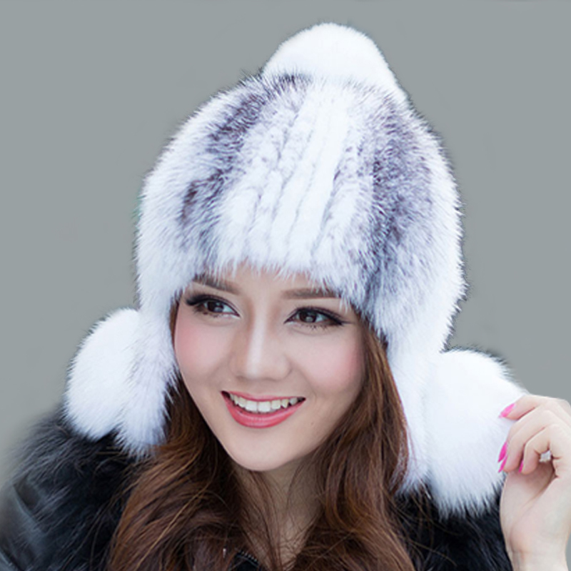 Women Knitted Mink Fur Hat Cap Winter Genuine Real Fur Bomber Hats Elastic Handmade pom pom Beanies Headwear LQ11071