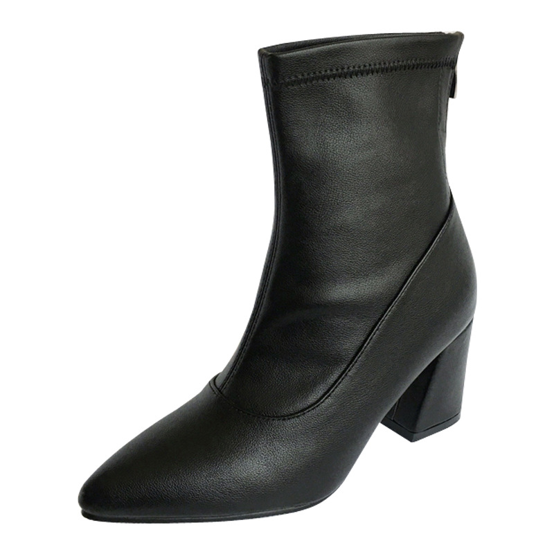2018 winter British wind pointed Chelsea boots foreign trade models with thick womens boots black ljj 02162018 winter British wind pointed Chelsea boots foreign trade models with thick womens boots black ljj 0216