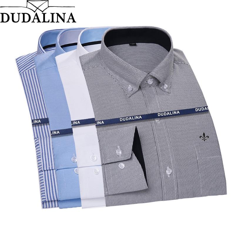 Dudalina 2018 Men Shirt Plus size Long Sleeve Men Striped Plaid Shirts Casual Spring Autumn Classic Quality Men Clothes Camisa
