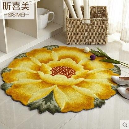 90 CM Durchmesser 3D Sonnenblumen Teppiche Für Wohnzimmer Weichen ...