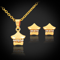 Yellow Gold Color Jewelry Sets Cute Small Star Rhinestone Pendant Necklace And Earrings Jewelry Sets For Women PE723