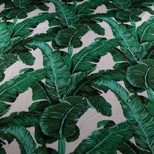50*142cm green palm banana leaf printed cotton tissu,100% cotton poplin fabric for dress DIY Sewing,kids Sheet patchwork tissu