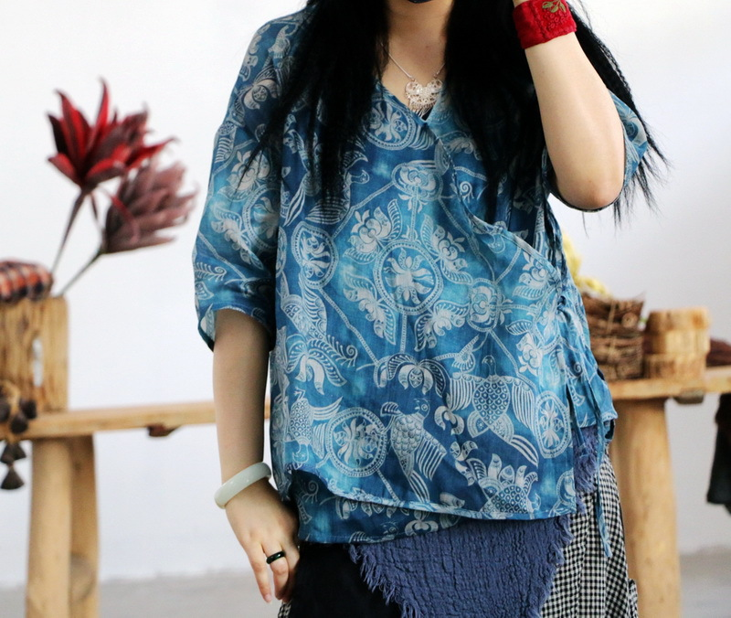 Women Printed Ramie Retro Shirt Jackets Tops Female Irregular Length Vintage Loose Thin Coat Summer Blue