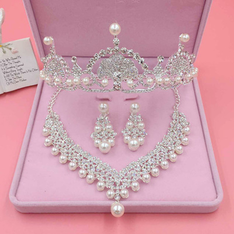 Luxury Silver Wedding Hair Accessories Pearl Rhinestone Crowns And Tiaras Set Bridal Necklace Earring Sets Women Hair Jewelry