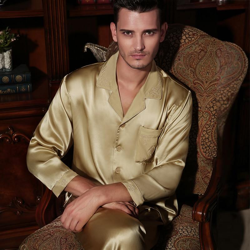 Brand Male Silk Pajamas Fashion Men's 100% Silk Long-Sleeve 2-Piece Pajama Pants Sets Comfortable Soft Men Homewear Sets