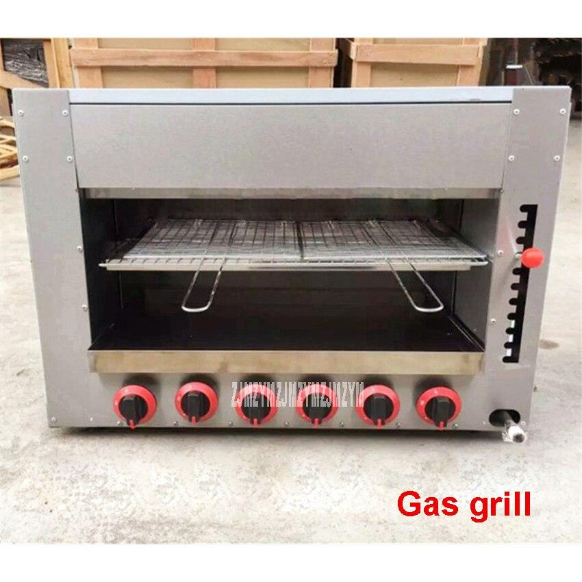 Cuisinière à gaz commerciale cuisinière à Barbecue Six four à gaz infrarouge Spot poêle à poisson grillé matériel en acier inoxydable