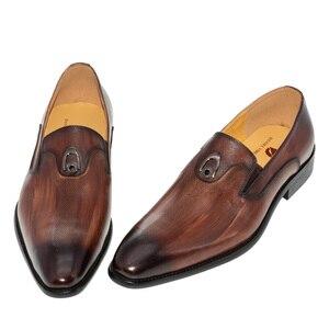 Image 2 - sapatos masculino social bico fino Metal decoração Lavar à mão cor Marrom Amarelo Sapatos de couro